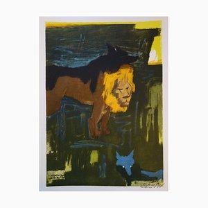 Litografia The Lion, the Wolf and the Fox di Paul Colin