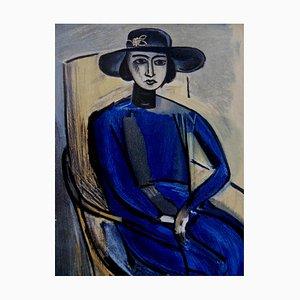 Modèle à la Robe Bleue Color Lithograph Reprint by Henri Matisse, 1954