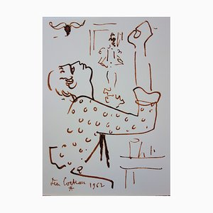 The Prayer Lithograph by Jean Cocteau, 1965