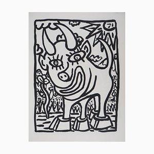 Smiling Bull Silkscreen by Robert Combas, 1985