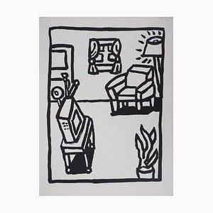 Robert COMBAS : Salon et boite à cons - Sérigraphie originale, 1985