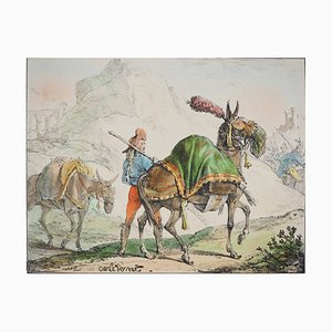 The Two Mules Lithograph by Charles-Antoine Vernet