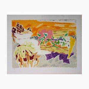 Jules CAVAILLES - Natura morta con coni in pino, litografia originale firmata