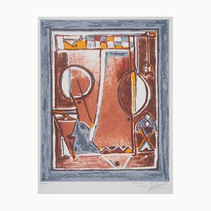 Mohammed AZOUZI - Abstract Composition, original signed lithograph