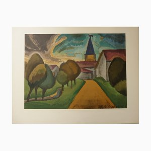 Roger de la FRESNAYE - Arrival in the village, signed Lithograph