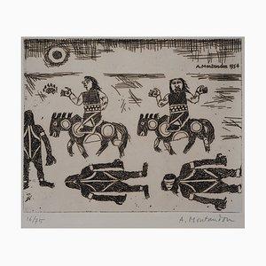 Aimé MONTANDON: La travailleée des cavaliers - Tiefschwarzer Originale Signée