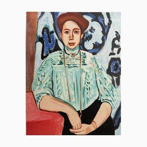 Henri MATISSE (d'après) : La dame au haut bleu - Lithographie Signée