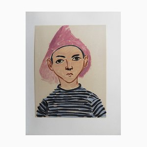 Boy with Striped Shirt Color Lithograph After Henri Matisse