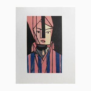 Henri MATISSE (1869-1954) (after) - White and pink head, signed lithograph