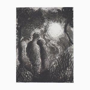 Fabienne BARRANGER : Couple face au soleil - Gravure originale signée