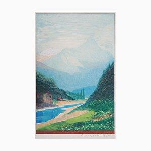 Vue Sur la Montagne Engraving by François-Louis Schmied