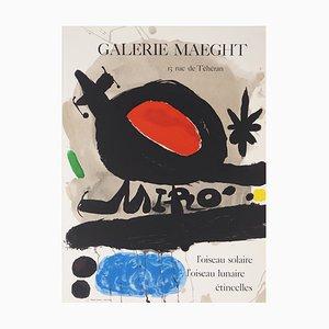Joan MIRO : Oiseau solaire, lunaire et étincelles - Affiche lithographique originale d'époque