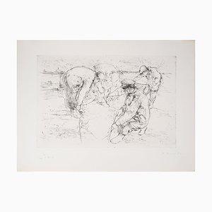 Chasseurs Plaçant un Piège Engraving by Jean-Yves Commère