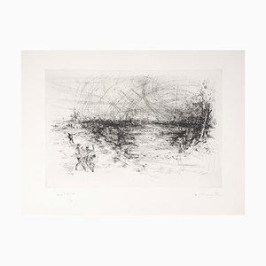 Bagarre Près d'un Pont Engraving by Jean-Yves Commère