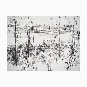 Bord de Lac Engraving by Jean-Yves Commère