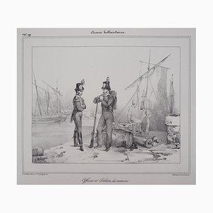 Officier et Soldats de Marine Hollandaise Lithograph by Richard James Lane
