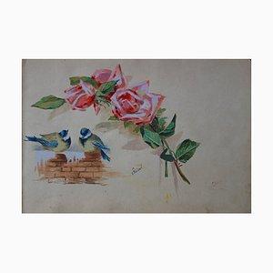Couple de Mésanges et Roses Watercolor by Edmond Pellisson, 1902
