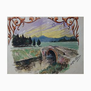 Le Petit Pont de Pierre Watercolor by Edmond Pellisson, 1902