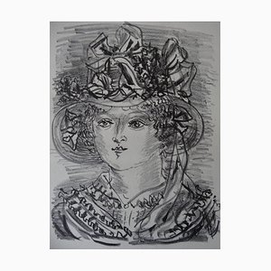 Woman with Fantastical Hat Lithograph by Raoul Dufy, 1930