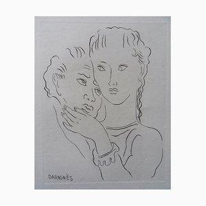 L'étreinte Engraving by Jean-Gabriel Daragnès, 1942