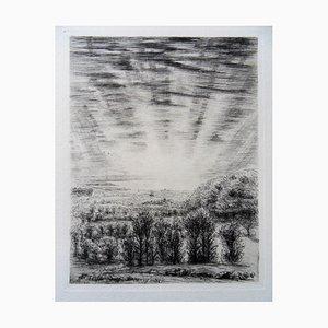 Lever de Soleil en Normandie Engraving by Jean Frelaut, 1942