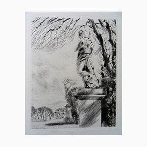 Sculptures Dans un Parc Engraving by André Jacquemin, 1942