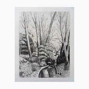 Henri VERGE-SARRAT : Sous bois avec une pie - Gravure originale Signée, 1942