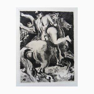 Incisione L'enlèvement des Sabines di Yves Brayer, 1942
