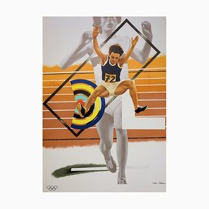 Athletics, Higher, Stronger, Farther Lithograph by Peter Philips, 1972