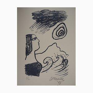 Femme à la Mer Lithograph by Corneille, 1998