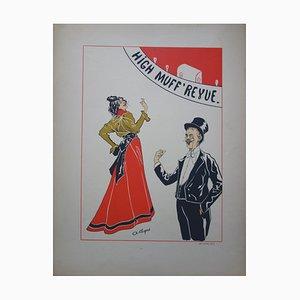 High Muff Revue Lithograph by A. Depré