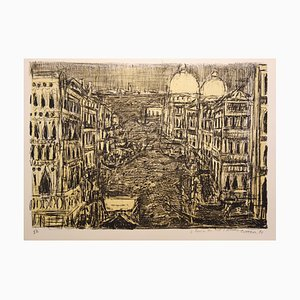 View on the Venice Canals Lithograph by André Cottavoz