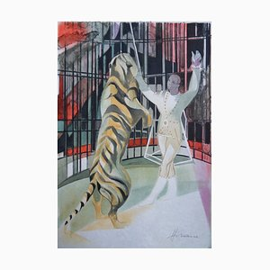 The Tiger Trainer Lithograph by Camille Hilaire