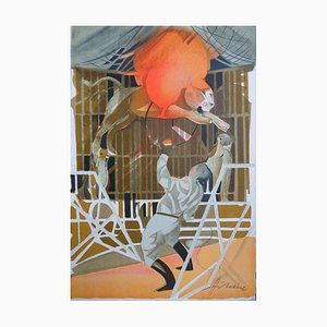 Camille HILAIRE - The trainer, signed lithograph