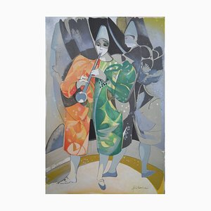 Pierrot Lithograph by Camille Hilaire