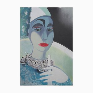 White Pierrot Lithograph by Camille Hilaire