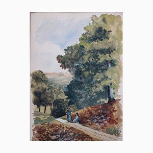 Coin de Rivière Paisible Watercolor by Edmond Pellisson, 1899