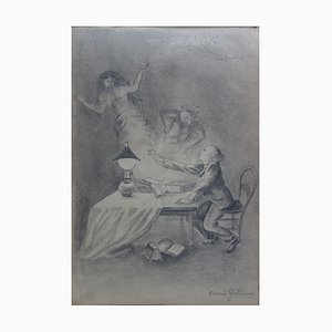 Hommage à Redon, le Rêve Drawing by Edmond Pellisson, 1899