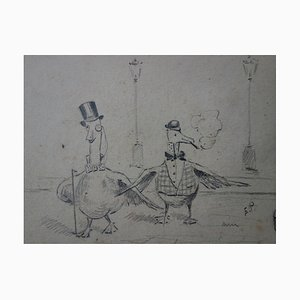 Les Pigeons élégants Drawing by Edmond Pellisson, 1895