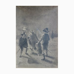 A Duel Under Louis XIII Drawing by Edmond Pellisson, 1899