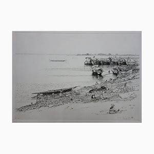 Au Bord du Fleuve Drypoint by François Cayol