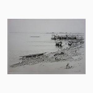 François Cayol - Au bord du fleuve, pointe sèche originale signée