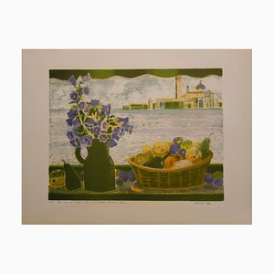 Bouquet et Corbeille de Fruits sur l'eau Lithograph by Garcia Fons