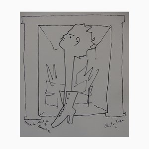 Wishes, Man Shoe Lithograph by Jean Cocteau