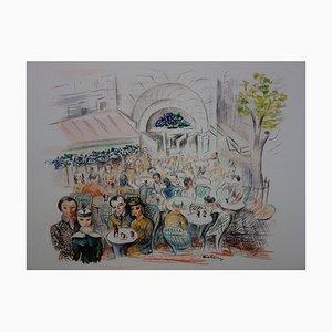 Lithographie Paris - Café des Sirènes par Moïse Kisling