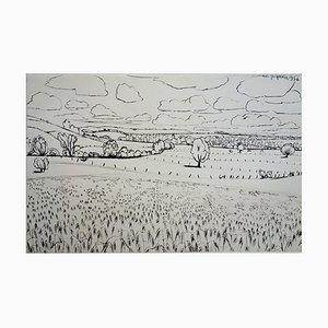 Pastures in Lorraine Engraving by André Jacquemin