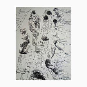 André DUNOYER de SEGONZAC - The butcher's counter, Original signed engraving