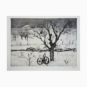 Winter Landscape with Cherry Tree Aquatint by Jacques Hallez