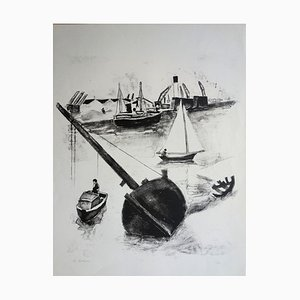 Harbour at Low Tide Engraving by Robert Lotiron