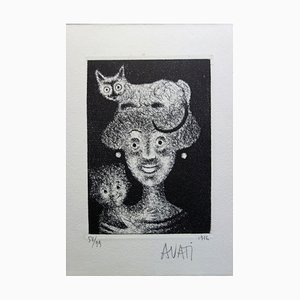 Woman with Cat Etching by Mario Avati